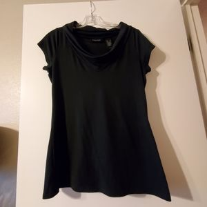 Black cowl neck short sleeve top